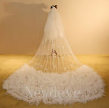 White Ivory 3.5M 2T Cathedral Wedding Veils Tulle Net Bridal Veils Newest Morden