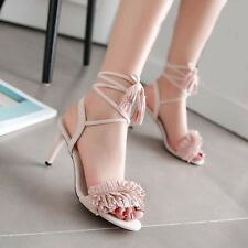 Womens High Heels Strappy Sandals Open Toe Faux Suede Lace Up Tassel Shoes Pumps