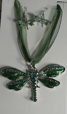 Dragonfly Silver Plated Necklace Earrings Green Blue Purple Black Red Purple