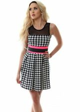 Monochrome Houndstooth Black White Neon Pink Mesh Skater Dress Bandage Pleated