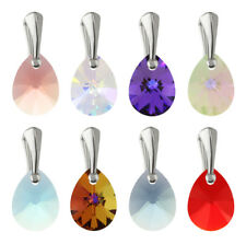 Sterling Silver Pendants with SWAROVSKI 6128 Mini Pear Teardrop 12mm Crystals