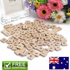 200 Wooden Alphabet For Scrabble Tiles Black Letters & Numbers For Crafts TM