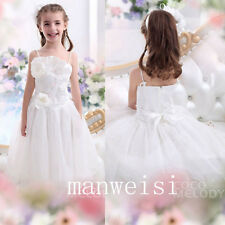 Princess Flower Girl Dress White Party Pageant Bridesmaid Gown Formal Dresses