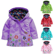 C6 New Girls Kids Rain Jacket Flowers Hooded Raincoat Waterproof Outwear Poncho