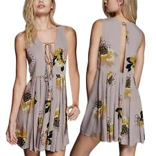 Womens V Neck Boho Casual Party Evening Mini Dress Summer Beach Floral Sundress