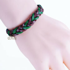 Unique Unisex Brown Green Braided Leather Woven Wristband Bracelets GM099US ZA1