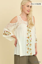 Umgee Floral Embroidered Cold Shoulder Tunic Top Off White or Blue S M L XL 1X 2