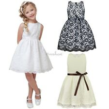 Girls Princess Vintage Bow Dress Bridesmaid Wedding Party Belt Dresses 6M-10Y