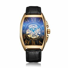 Luxury Leather Tourbillo Roman Skeleton Wrist Automatic Watch Mechanical Mens