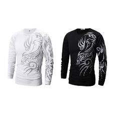 Dragon Totem Tattoo Cotton Blend Long Sleeve Round Neck T Shirt  Men Clothing gt