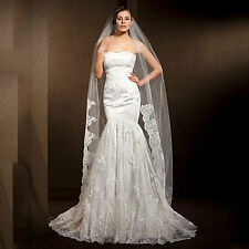 Wedding Veils White Ivory Elegant Tulle One-tier Lace Edge Veils With Comb
