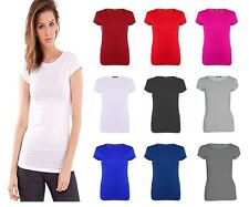 NEW WOMENS LADIES CASUAL BASIC PLAIN CAP SHORT SLEEVE T-SHIRT TOP PLUS SIZE 8-26