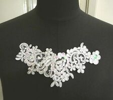 1pc Offwhite Embroideries w/ Beaded Pink Sequin Collar Neckline Lace Patch A120
