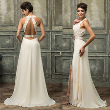 Long Beaded Formal Bridesmaid Evening Prom Wedding Party Gowns Dress