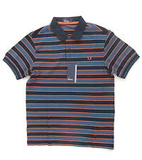 NEW FRED PERRY M8345 MENS BLUE 3 COLOUR STRIPE POLO SHIRT SIZE S