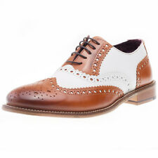 London Brogues Handcrafted Brogue Mens Brogues Tan White New Shoes