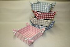 Bread Roll Basket/Tray, Laura Ashley Gingham Fabric, Folding, Shabby chic