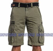 AFFLICTION Windtalkers 110WS133 Men`s New Military Green Cargo Shorts