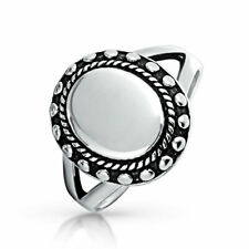 Bling Jewelry Engravable Vintage Style Womens Oval Beaded Sterling Signet Ring