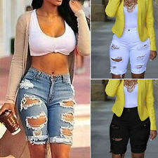 2017 Women close-fit Shorts ripped Jeans pedal pusher Ladies middle length Pants