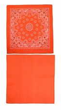 New CTM Cotton Solid and Paisley Print Neon Bandana Kit (Pack of 2)