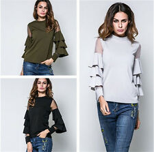 Fashion Women's Sexy Loose Cotton V-Neck Tops Long Sleeve T-Shirt Casual Blouses