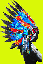Street Pop Art Indian Chief Feather Head Yellow Print  Painting Canvas Painting