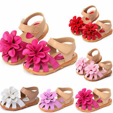 Summer Flowers Baby Girls Princess Toddler Sandals Flat Kids PU Closed Toe Shoes