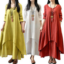Ladies Women's Ethnic Boho Linen Long Sleeve Gypsy Blouse Shirt Loose Maxi Dress