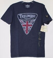 NWT Lucky Brand Triumph Motorcycle UK Flag Badge Logo Navy T-Shirt