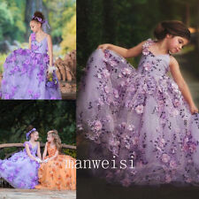 Princess Flower Girl Dress Purple Party Pageant Bridesmaid Gown Formal Dresses