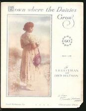 Down Where The Daisies Grow 1917 Vintage Sheet Music