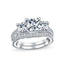 Bling Jewelry Sterling Silver Princess Cut CZ Wedding Engagement Ring Set