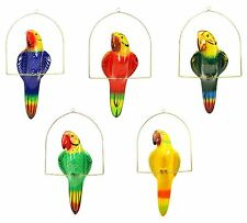 "Garden Patio Decor, Hanging Ceramic Bird, Multi-Color Parrot with Perch-21""Tall"