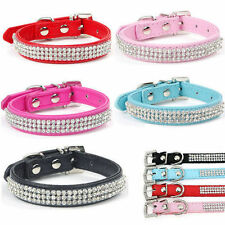 Bling Rhinestone Pet Dog Cat Collar PU Leather Crystal Puppy Collar Size XS-L