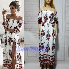 Sexy Women Off Shoulder Boho Floral Maxi Dress Party Split Tunic Dress Summer