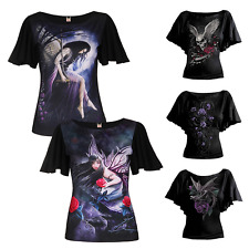 Women Fashion Casual 3D Skull Batwing Sleeve Blouse Tops Cool Loose Fit T-Shirt