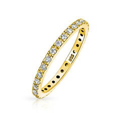 Bling Jewelry Gold Plated 925 Silver Pave Classic Wedding Band CZ
