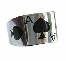 Sterling Silver (925)  Ace  Of  Spades  Ring    (10 Grams)   !!   Brand  New  !!