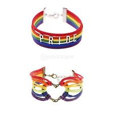 Handmade Colorful Rainbow Cord Gay Lesbian LGBT Pride Bracelet Rope Bangle