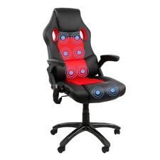 8 Point Massage Racing PU Leather Office Computer Chair Black/Red