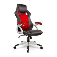 PU Leather & Mesh Racing Style Office Chair - Red