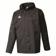 Adidas Mens Tiro17 Storm Full Zip Rain Jacket Top Hooded Training Waterproof ...