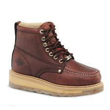 "Mens Burgundy 6"" Mocc Toe Leather Steel Toe Work Boots BAT 612 Size 5-13 (D, M)"
