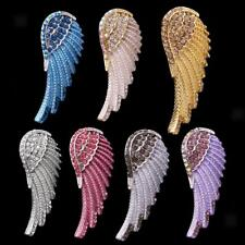 Crystal Rhinesotne Feather Angel Wing Pendant for Necklace Chain Jewelry Gifts