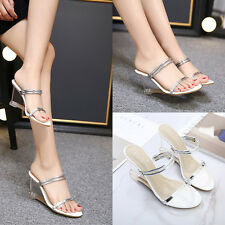 Womens Open Toe Wedge Heel Transparent Slippers Casual Strappy Sandals Shoes