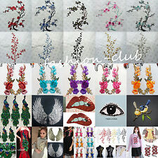 52Style Embroidery Flower Sew On Patches Fabric Sequin Dress Clothing Appliques