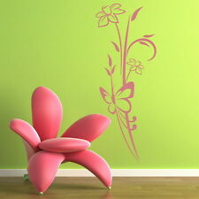 PRETTY FLOWER AND BUTTERFLY WALL ART STICKER DECAL huge removable vinyl uk FL40