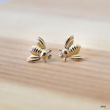 Adita ORIGINAL 14K Solid Yellow Gold 5mm HANDMADE  Honey Bee Stud Earrings