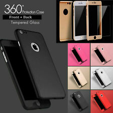 360° Ultra Thin Silicon Hybrid Case /Tempered Glass Cover For iPhone 6s 7+ Plus